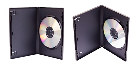 The open black plastic DVD case with matted internal surface and a DVD disk inside from two different views  isolated on white photo