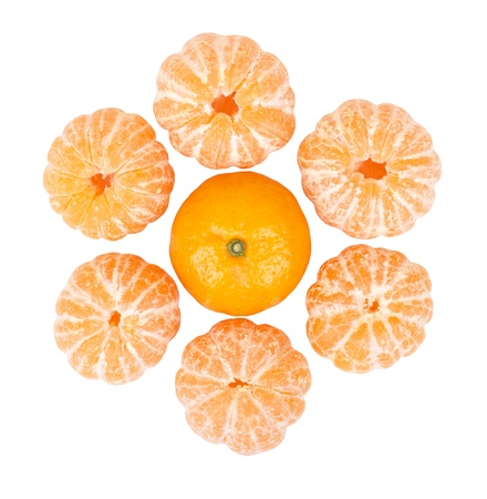 unbroken: Six peeled mandarins and one unbroken one isolated on a white background