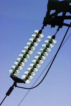 insulators: The composite glass insulators on high voltage stand