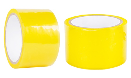 Yellow adhesive tape roll, two different views isolated on white photo