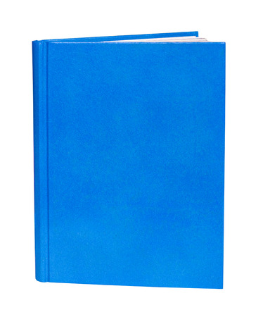 hardcover: Blue book with blank hardcover standing isolated on white background