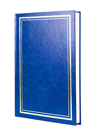 aureate: Blue book with aureate frame on hardcover standing isolated on white background