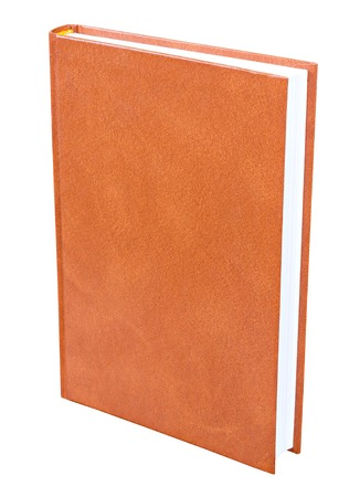 Orange book with blank hardcover standing isolated on white background photo