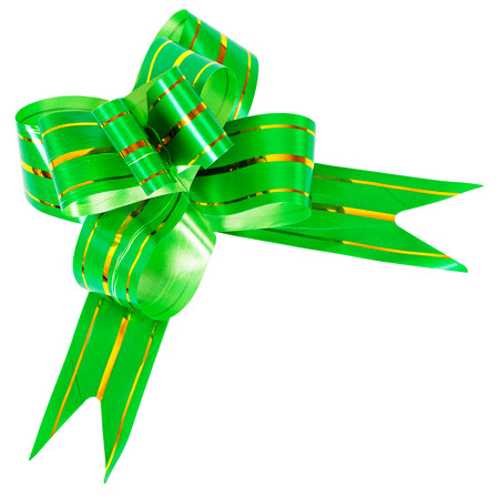 aureate: Bow made from green ribbon decorated with aureate stripes isolated Stock Photo