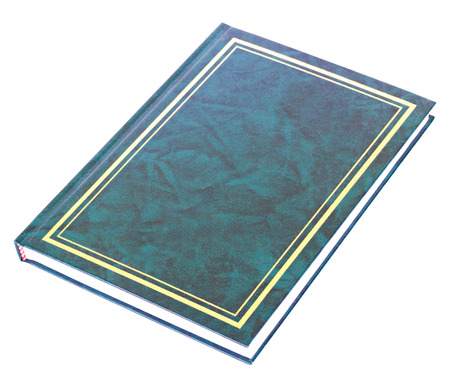 aureate: Blue book with aureate frame on hardcover lying isolated on white background Stock Photo