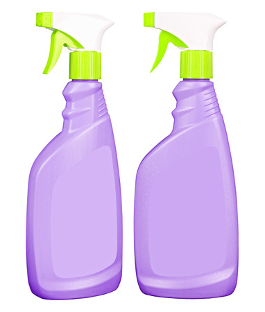 Purple glass cleaner bottles with green and white sprayer isolated on white Stock Photo - 27244046