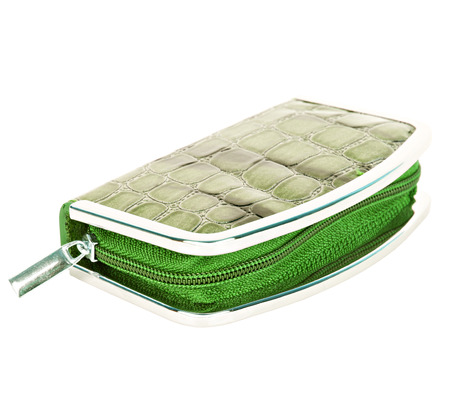 Manicure set closed green case with imitation of alligator leather isolated on white background photo