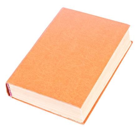 Orange book with blank hardcover lying isolated on white background photo