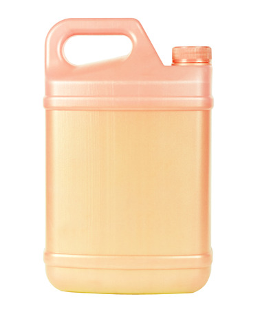 Rosy plastic canister with handle isolated on white photo
