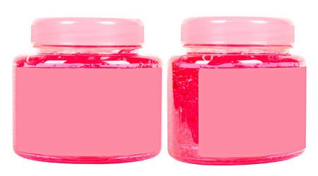 Pink conditioner jars photo