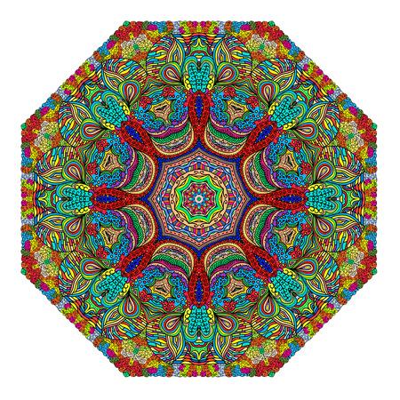octogonal: Ornamento octogonal de colores sobre un fondo blanco