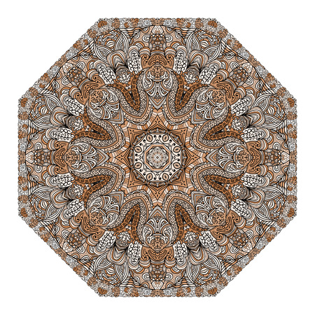 octagonal: Octagonal brown ornament on a white background