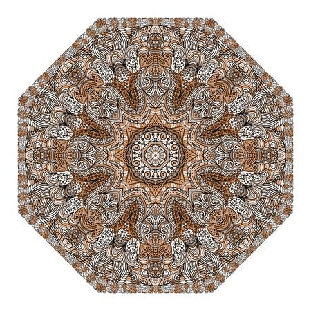 octogonal: Ornamento marr�n octagonal sobre un fondo blanco Vectores