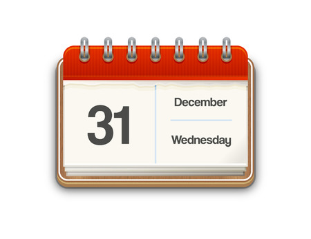 wednesday: Vector calendar with December, 31, Wednesday date on white background Illustration