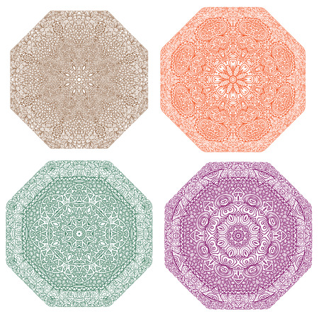 octagonal: Four colorful octagonal patterns (brown, orange, green, violet) on a white background