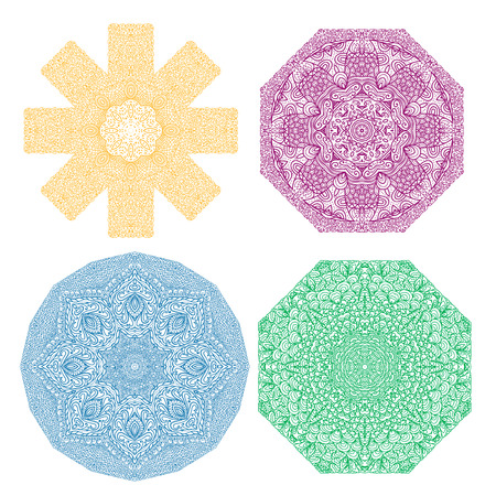octagonal: Four colorful octagonal patterns, yellow, violet, blue, green, on a white background Illustration