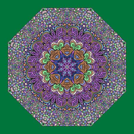octogonal: Adorno octagonal colorida en un fondo verde