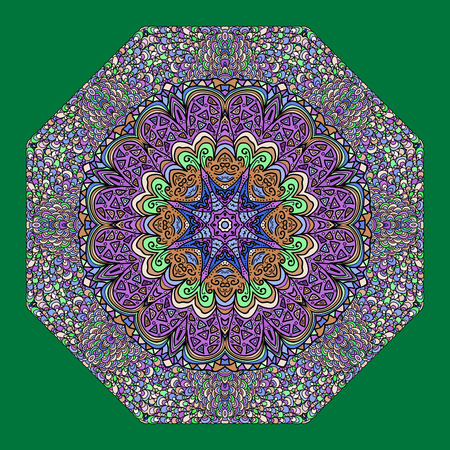 octagonal: Colorful octagonal ornament on a green background