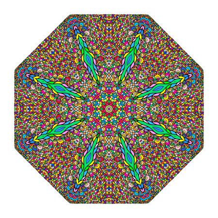 octagonal: Adorno octagonal colorida en un fondo blanco Vectores