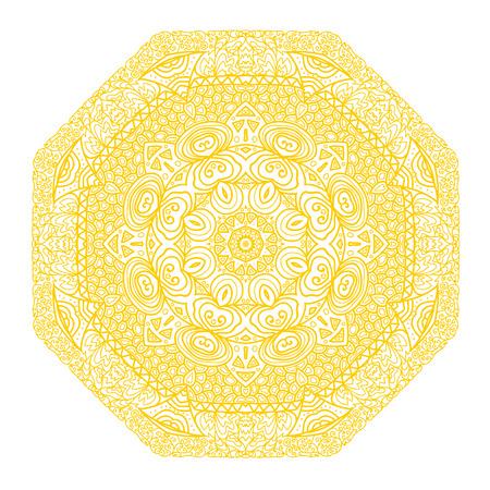 octagonal: Octagonal ornamento amarillo sobre un fondo blanco