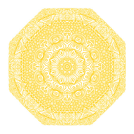 octagonal: Octagonal yellow ornament on a white background