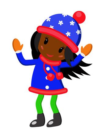 rejoicing: Bambina con i capelli neri in berretto blu e blu cappotto gioia su sfondo bianco Vettoriali