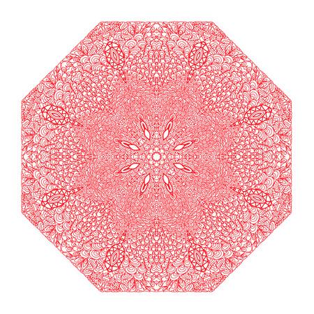 octagonal: Ornamento rosado octogonal sobre un fondo blanco Vectores