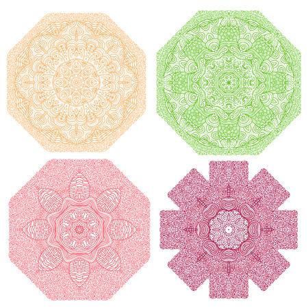 octagonal: Four colorful octagonal patterns, orange, green, red, violet, on a white background Illustration