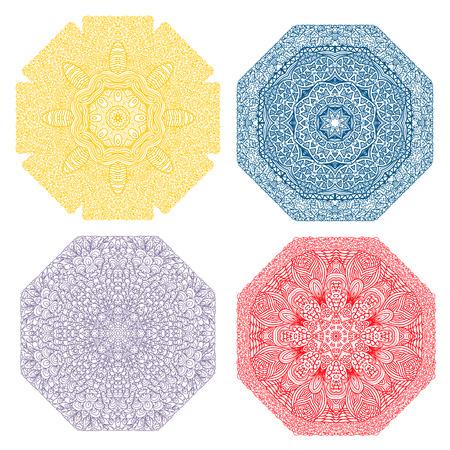 octogonal: Cuatro patrones octogonales de colores, amarillo, azul oscuro, lila, rojo, sobre un fondo blanco