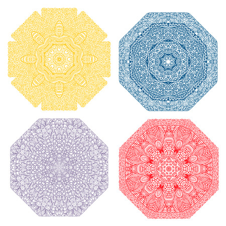octagonal: Four colorful octagonal patterns, yellow, dark blue, lilac, red, on a white background Illustration