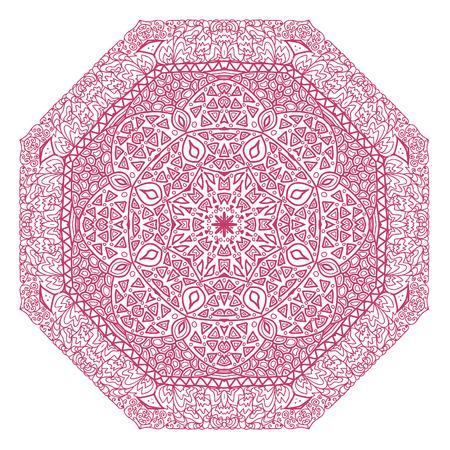 octagonal: Ornamento violeta octogonal sobre un fondo blanco