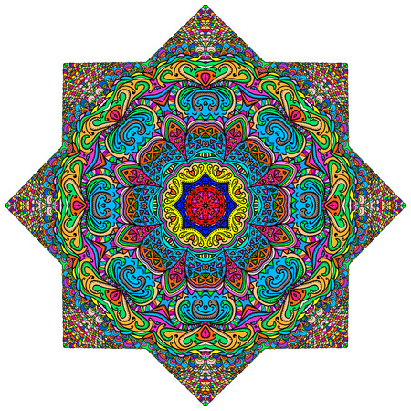 octagonal: Colorful octagonal ornament on a white background Illustration