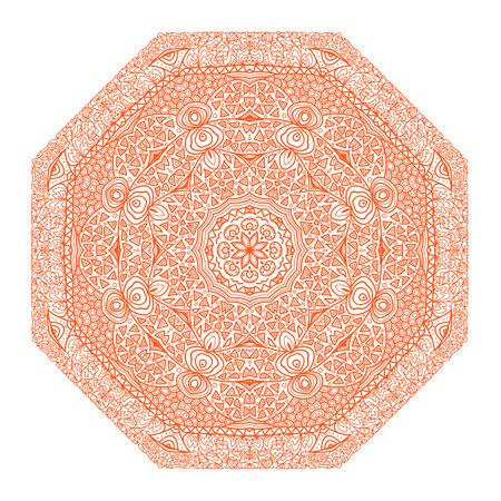 octogonal: Ornamento naranja octogonal sobre un fondo blanco