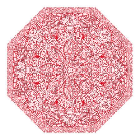 octogonal: Ornamento rojo octogonal sobre un fondo blanco