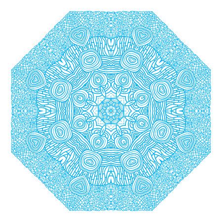 octagonal: Ornamento azul octogonal sobre un fondo blanco
