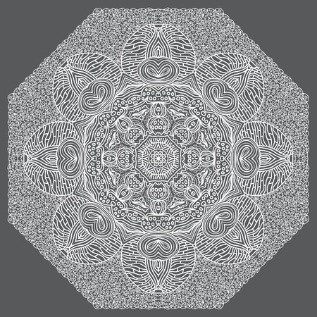 octagonal: Octagonal white ornament on a grey background