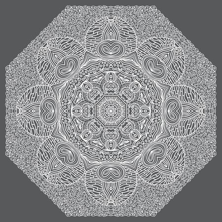 octagonal: Ornamento blanco octogonal sobre un fondo gris