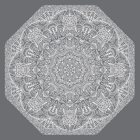 octogonal: Ornamento blanco octogonal sobre un fondo gris