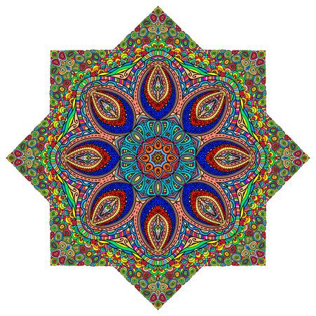 octogonal: Adorno octagonal colorida en un fondo blanco Vectores