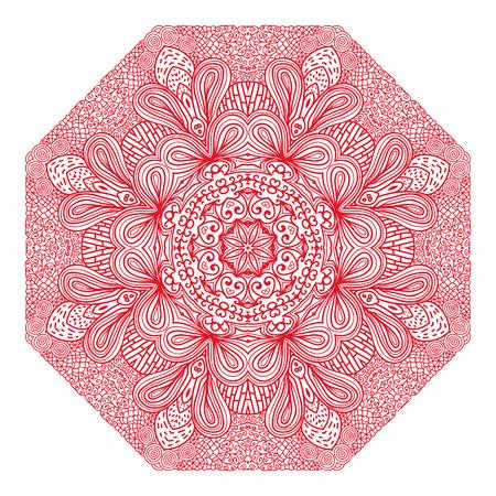 octagonal: Ornamento rojo octogonal sobre un fondo blanco