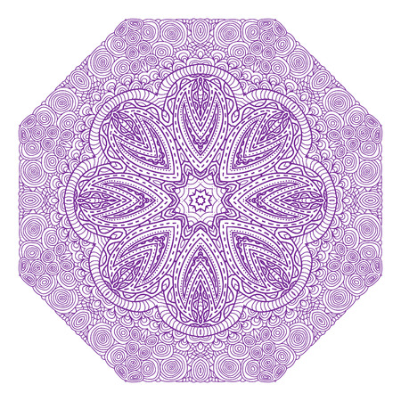 octagonal: Octagonal violet ornament on a white background