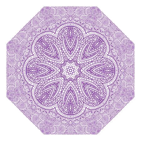 octogonal: Ornamento violeta octogonal sobre un fondo blanco