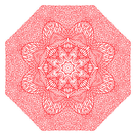 octagonal: Octagonal rosy ornament on a white background