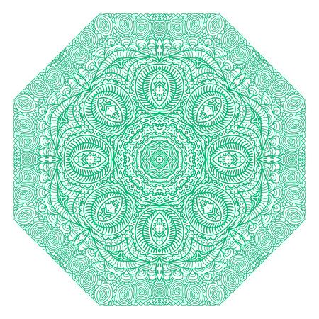 octagonal: Ornamento verde Octagonal sobre un fondo blanco Vectores