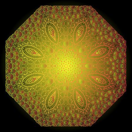 octogonal: Octagonal ornamento amarillo sobre un fondo negro