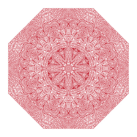 octagonal: Octagonal red ornament on a white background Illustration