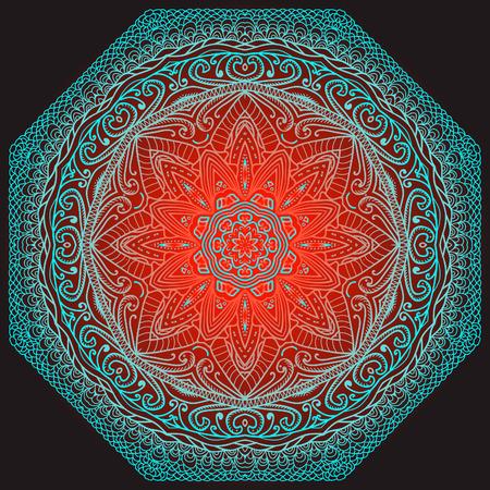 octogonal: Ornamento azul octogonal sobre un fondo rojo y negro