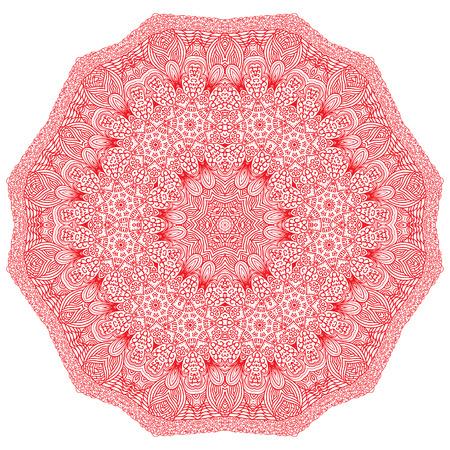 octogonal: Ornamento rojo Octagonal sobre un fondo blanco