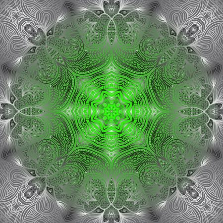 octogonal: Ornamento blanco octogonal sobre fondo verde y gris