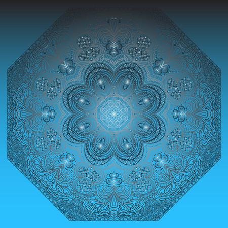 octagonal: Ornamento gris octogonal sobre un fondo azul